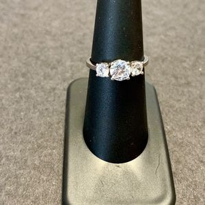 Jewelry - 3 Stone White Gold Plated Topaz Ring NWOT